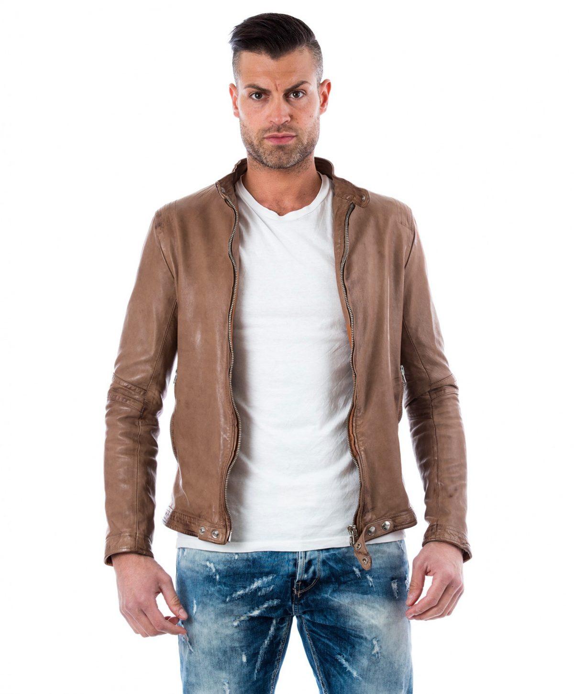 Grey Vintage Effect Lamb Leather Jacket