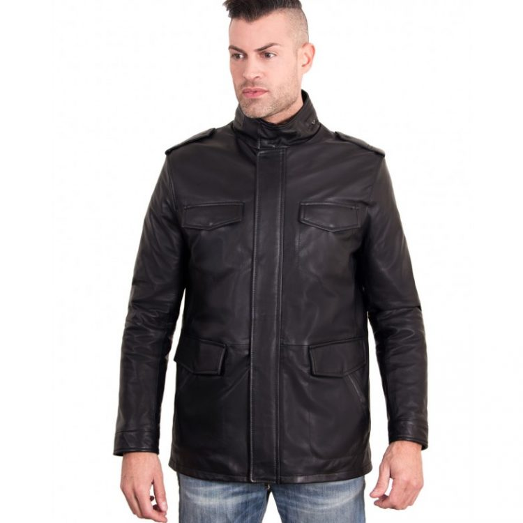 BLACK COLOR NAPPA LAMB LEATHER JACKET 4 POCKETS