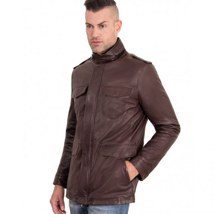 DARK BROWN COLOR VINTAGE LAMB LEATHER JACKET 4 POCKETS