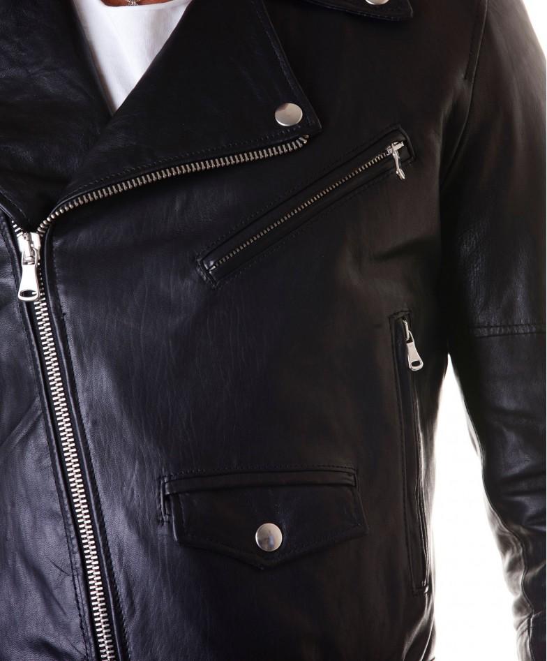 Black Perfecto Lamb Belted Leather Biker Jacket