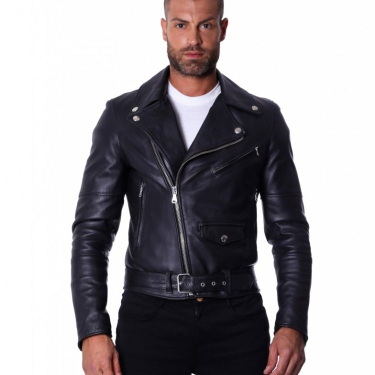 Black Perfecto Lamb Belted Leather Biker Jacket