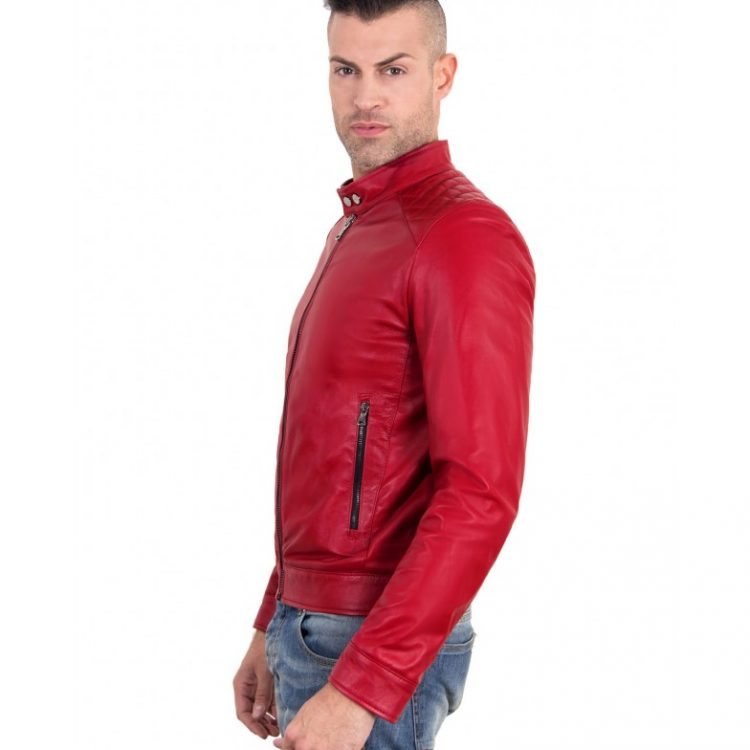 Red Color - Nappa Lamb Quilted Leather Biker Jacket