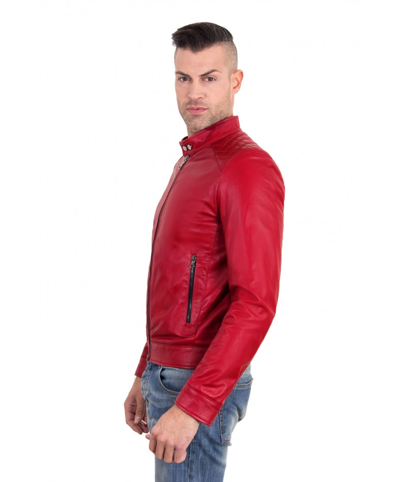 Red Color – Nappa Lamb Quilted Leather Biker Jacket