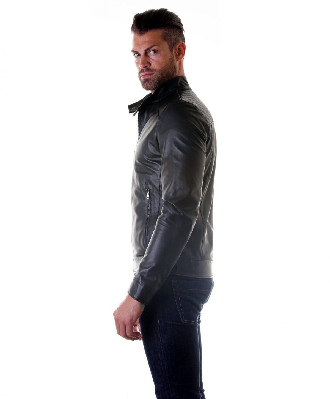 Black Quilted Lamb Leather Biker Jacket