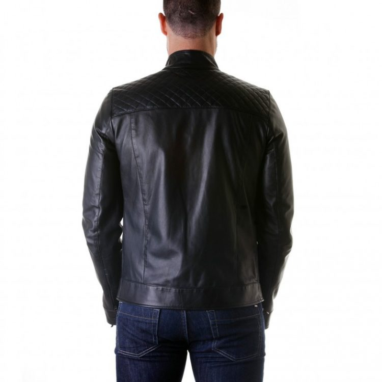 Black Quilted Lamb Leather Biker Jacket
