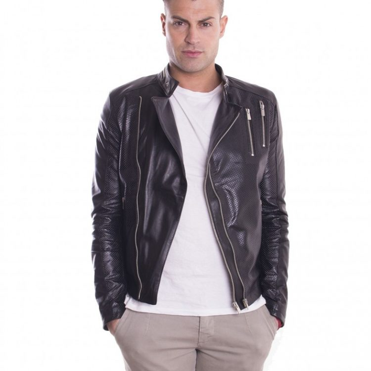 Black Perfored Lamb Leather Perfecto Jacket
