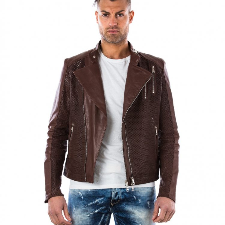 BROWN PERFORED LAMB LEATHER PERFECTO JACKET