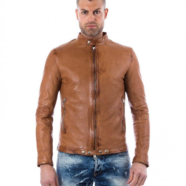 Tan Vintage Effect Lamb Leather Jacket