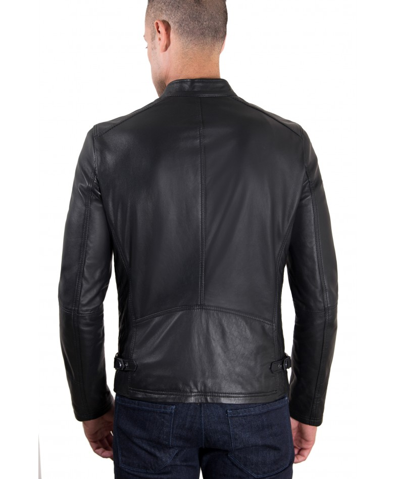 Black Nappa Lamb Quilted Leather Biker Jacket