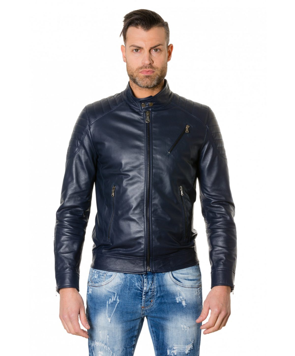 Blue Nappa Lamb Leather Biker Quilted Jacket