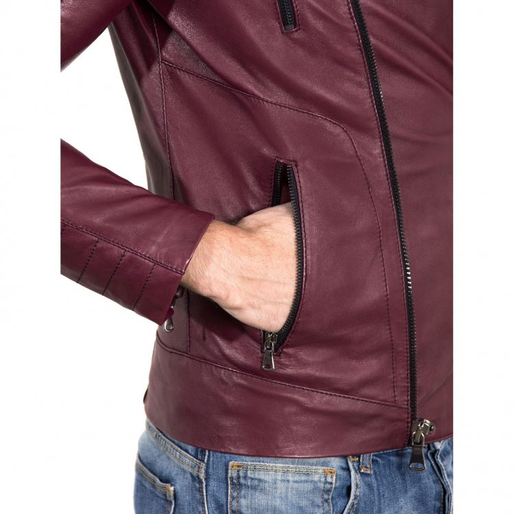 Maroon color Nappa Lamb Leather Biker Perfecto Jacket