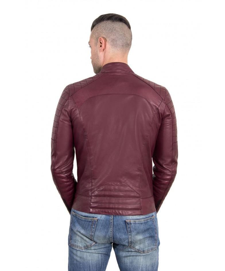 Maroon color Nappa Lamb Leather Biker Perfecto Jacket
