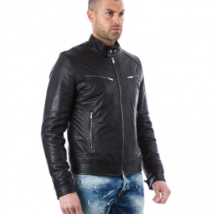 Calfskin Leather Jacket Black Four Pockets
