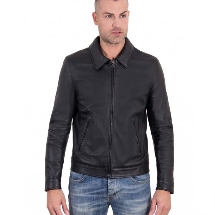 Black Color  Nappa Lamb Leather Jacket Shirt Collar