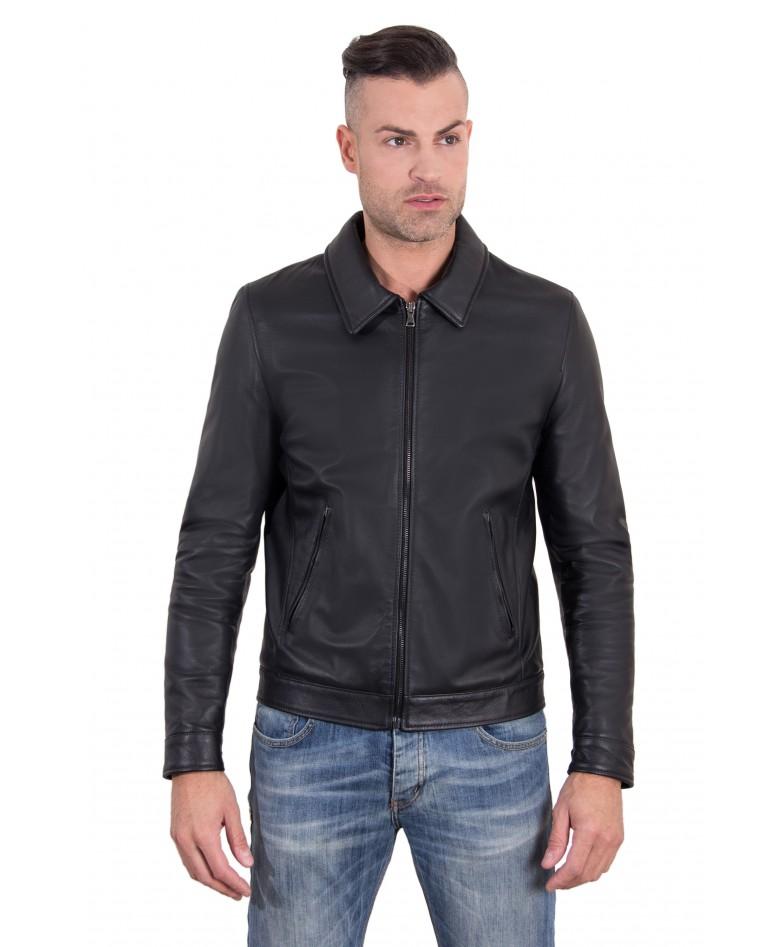 Black Color Nappa Lamb Leather Jacket Shirt Collar
