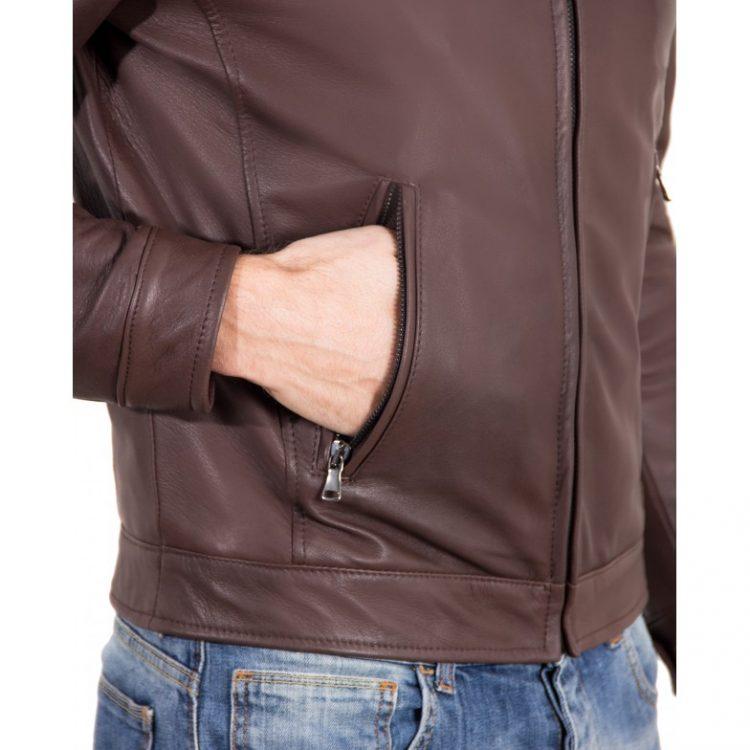 Dark Brown color Nappa Lamb Leather Jacket Shirt Collar