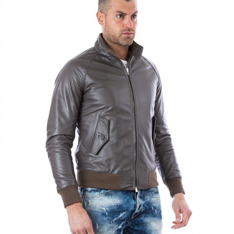Grey Leather Bomber Jacket Two Pockets