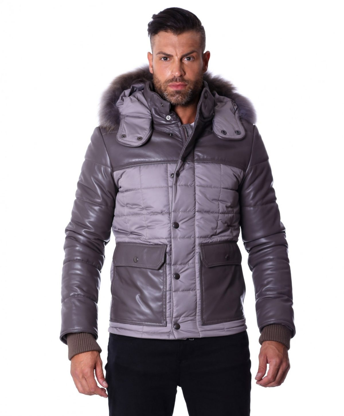 men-s-leather-down-jacket-with-hood-leather-and-fabric-grey-color-mod-u500