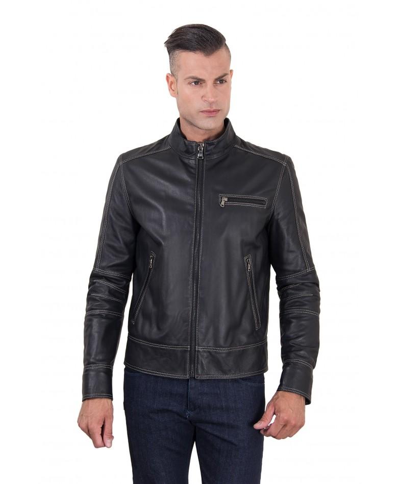 Black Lamb Leather Jacket Contrast Stitching