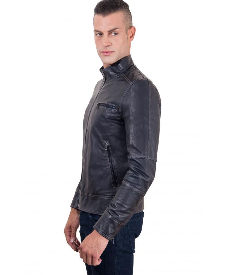 Blue Lamb Leather Jacket Contrast Stitching