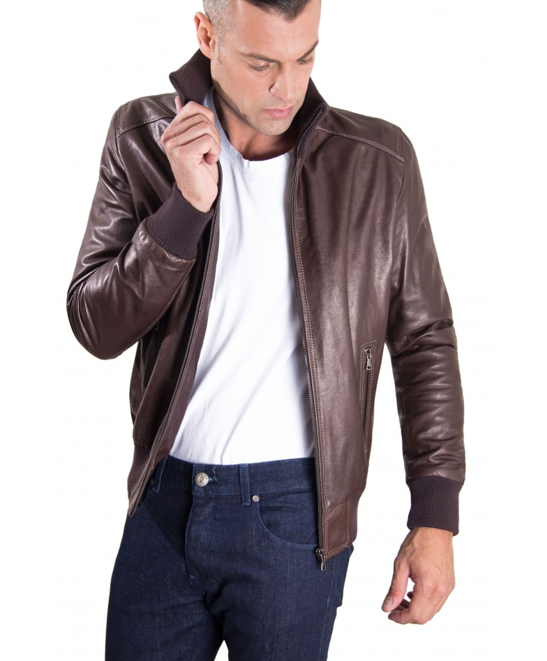 Brown Vintage Effect Lamb Leather Jacket