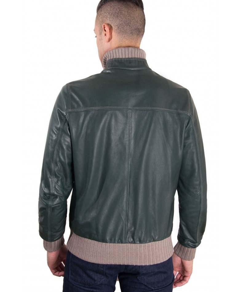 Green Vintage Effect Lamb Leather Jacket Wool Contrasting