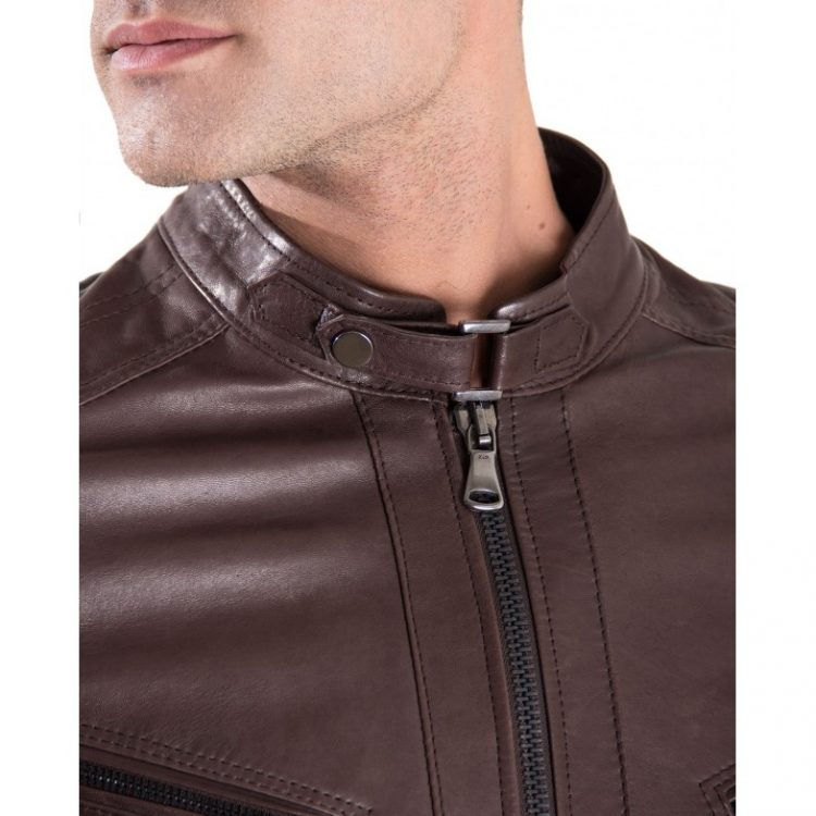 Dark Brown Color - Bogotà lamb Quilted Leather Biker Jacket