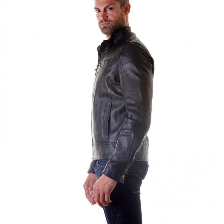 Lamb Biker Leather Jacket Mens Black Buckle