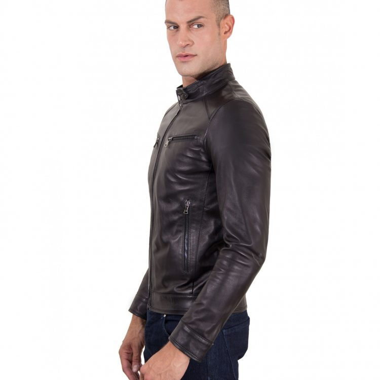 Black Nappa Lamb Leather Jacket Four Pockets korean Collar