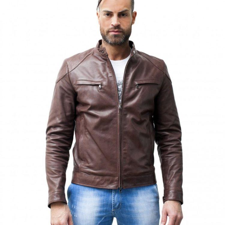 Brown Lamb Leather Biker Jacket