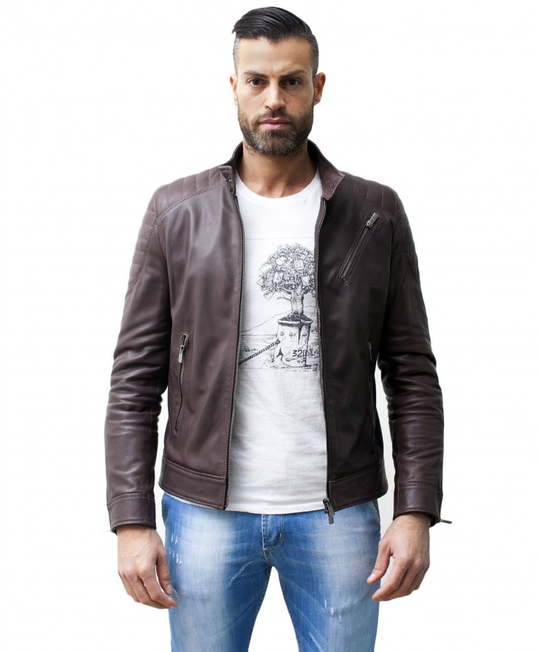 Brown Nappa Lamb Leather Biker Quilted Jacket