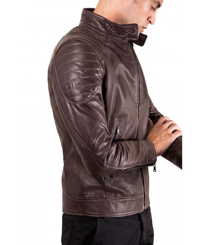 Brown Vintage Effect Lamb Leather Biker Quilted Jacket