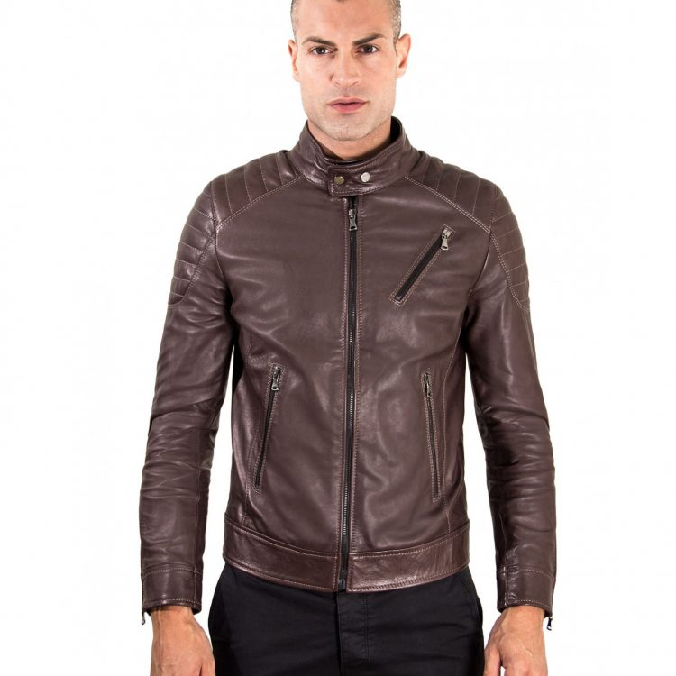 Brown Vintage Effect Lamb Leather Biker Quilted Jacket