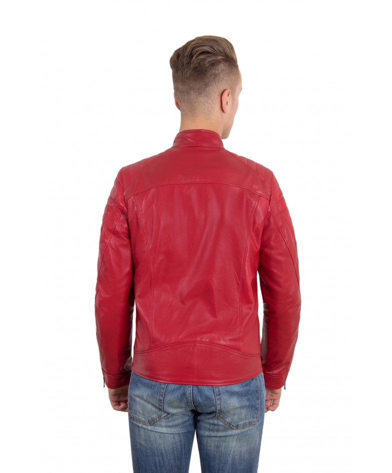 Nappa Lamb Smooth Effect Leather Biker Quilted Jacket