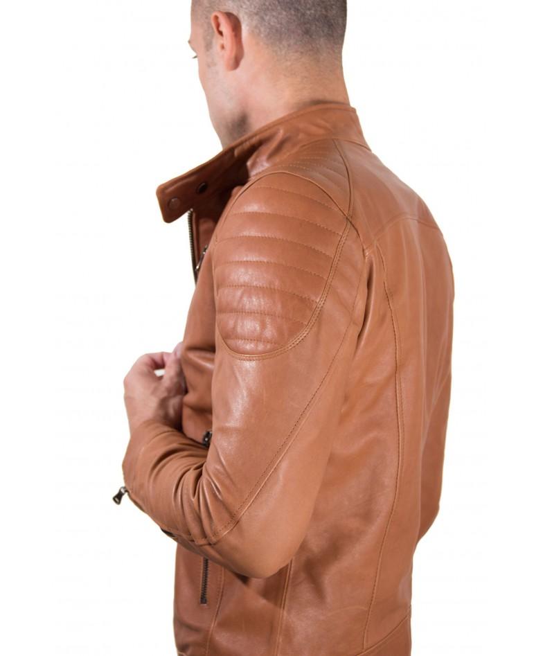 Tan Vintage Effect Lamb Leather Biker Quilted Jacket