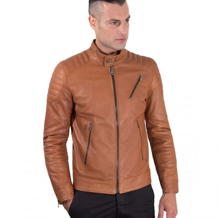 Tan Vintage Effect Lamb Leather Biker Quilted Jacket