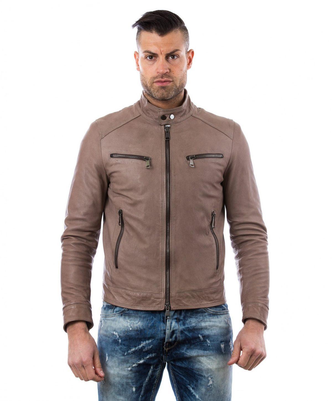 Grey Vintage Effect Lamb Leather Jacket Four Pockets Korean Collar