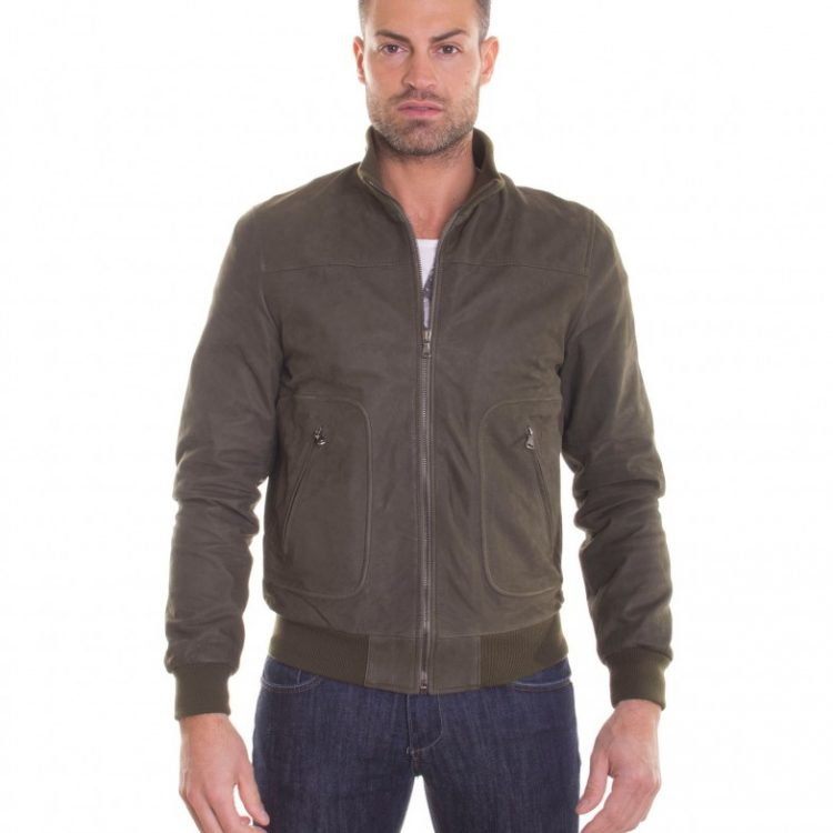 GREEN LAMB NABUK LEATHER BOMBER JACKET