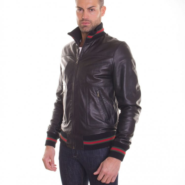 Black Lamb Leather Bomber Jacket Two Pockets