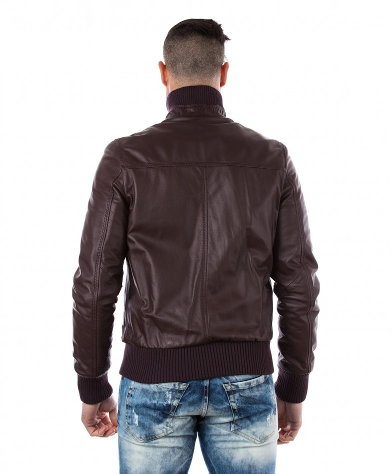 Red Purple Nappa Lamb Leather Jacket