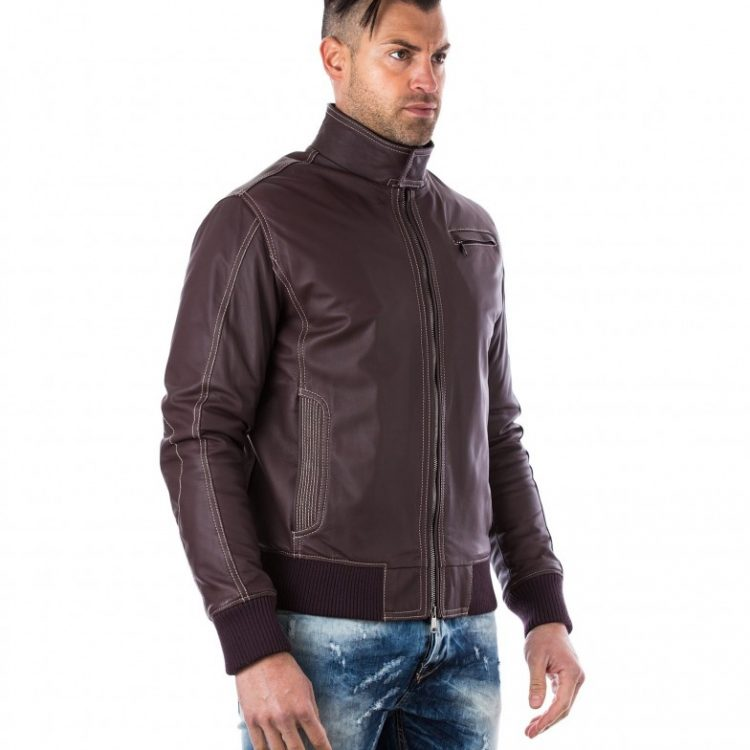 Brown Vintage Effect Lamb Leather Jacket