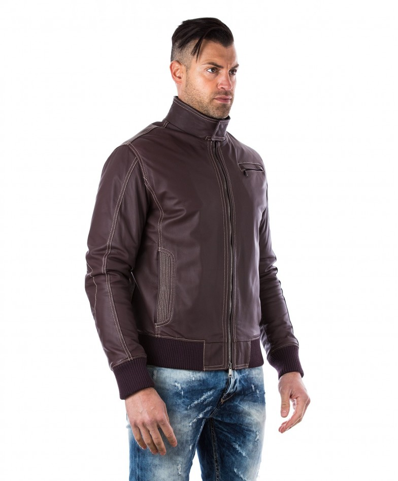 Brown Lamb Leather Bomber Jacket