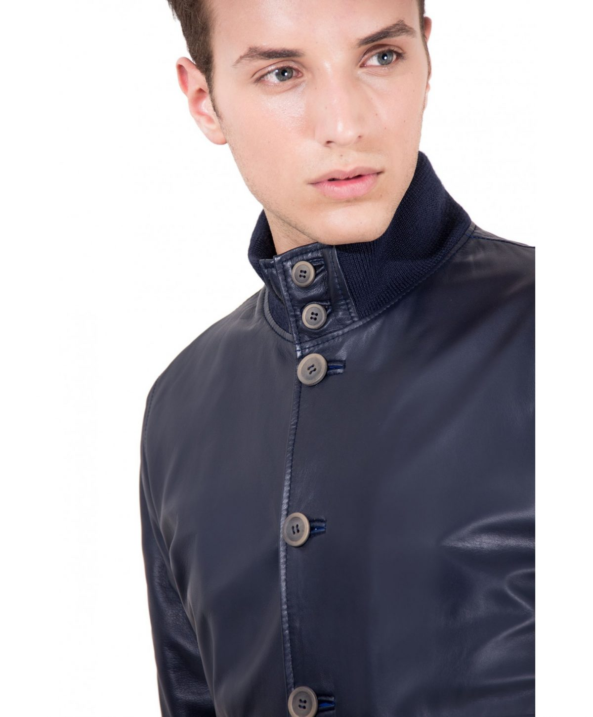 Blue Nappa Lamb Bomber Leather Jacket