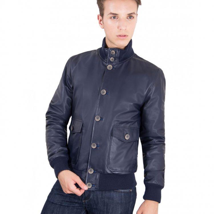 Blue Nappa Lamb Bomber Leather Jacket