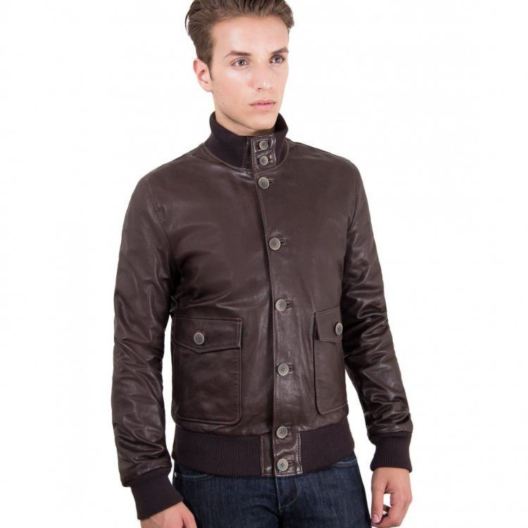 Brown Nappa Lamb Bomber Leather Jacket
