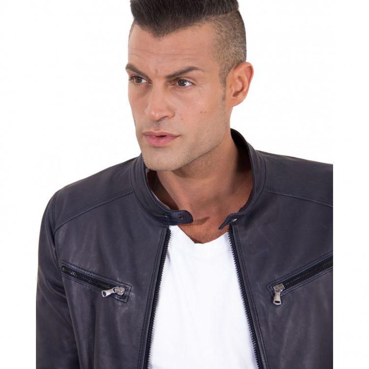 Blue Vintage Effect Lamb leather jacket Four Pockets korean Collar