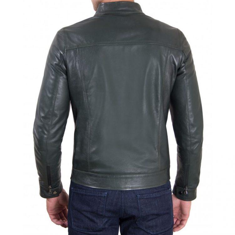 Green Vintage Effect Lamb Leather Jacket Four Pockets korean Collar