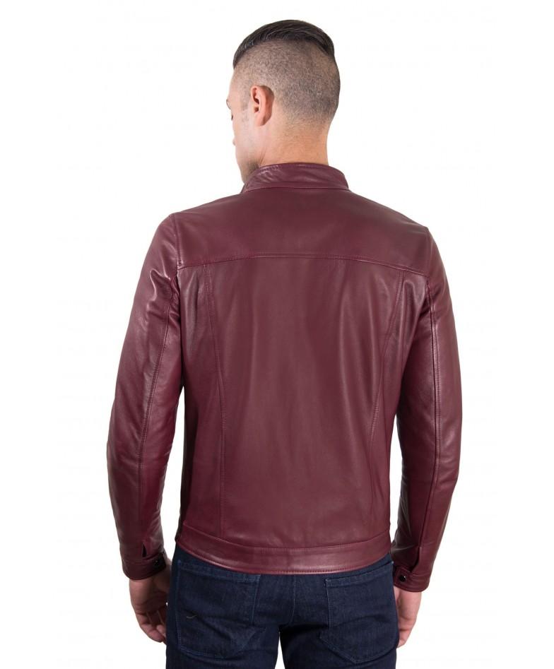 Maroon Vintage Effect Lamb Leather Jacket Korean Collar