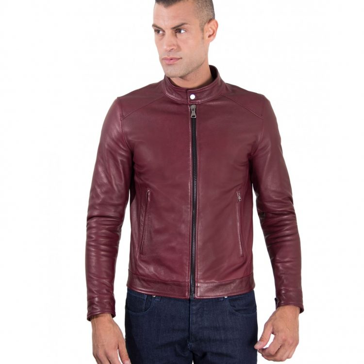 Maroon Vintage Effect Lamb Leather Jacket Korean Collar