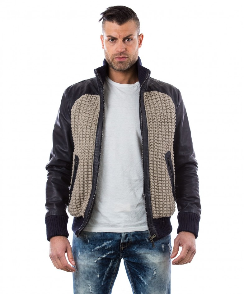 Blue Leather Bomber Jacket Front Woven Wool